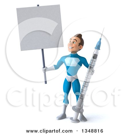 Clipart of a 3d Young White Male Super Hero in a Light Blue Suit, Standing with a Giant Vaccine Syringe and Blank Sign - Royalty Free Illustration by Julos