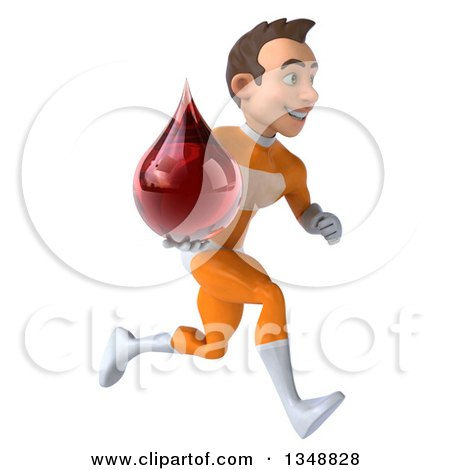 Clipart of a 3d Young Brunette White Male Super Hero in an Orange Suit, Holding a Blood Drop and Sprinting to the Right - Royalty Free Illustration by Julos