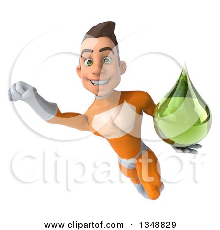Clipart of a 3d Young Brunette White Male Super Hero in an Orange Suit, Holding a Green Tincture Drop and Flying - Royalty Free Illustration by Julos