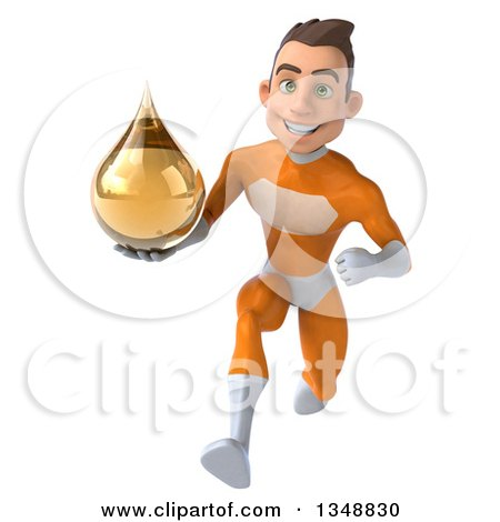 Clipart of a 3d Young Brunette White Male Super Hero in an Orange Suit, Holding an Amber Medicine Tincture Droplet and Sprinting - Royalty Free Illustration by Julos