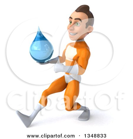 Clipart of a 3d Young Brunette White Male Super Hero in an Orange Suit, Holding a Water Drop and Speed Walking to the Left - Royalty Free Illustration by Julos
