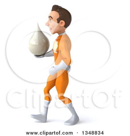 Clipart of a 3d Young Brunette White Male Super Hero in an Orange Suit, Holding a Lotion Milk or Soap Drop and Walking to the Left - Royalty Free Illustration by Julos