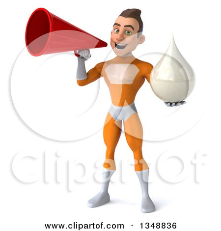 Clipart of a 3d Young Brunette White Male Super Hero in an Orange Suit, Holding a Lotion Milk or Soap Drop and Using a Megaphone - Royalty Free Illustration by Julos