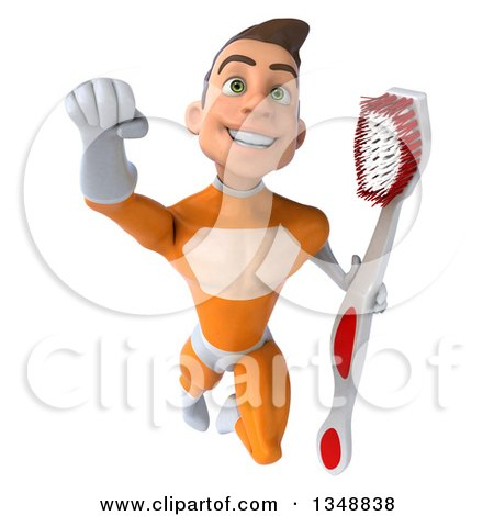 Clipart of a 3d Young Brunette White Male Super Hero in an Orange Suit, Holding a Toothbrush and Flying - Royalty Free Illustration by Julos