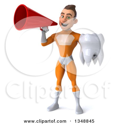 Clipart of a 3d Young Brunette White Male Super Hero in an Orange Suit, Holding a Tooth and Using a Megaphone - Royalty Free Illustration by Julos