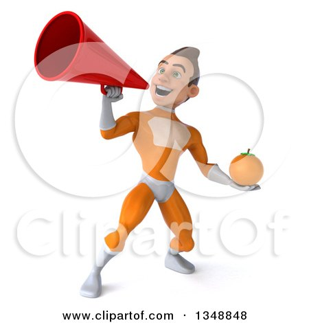 Clipart of a 3d Young Brunette White Male Super Hero in an Orange Suit, Holding a Navel Orange and Using a Megaphone - Royalty Free Illustration by Julos
