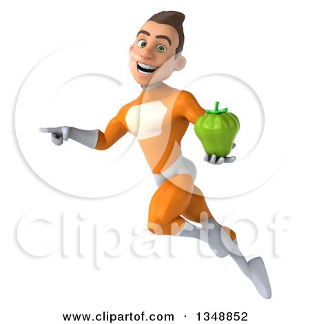 Clipart of a 3d Young Brunette White Male Super Hero in an Orange Suit, Holding a Green Bell Pepper and Flying - Royalty Free Illustration by Julos
