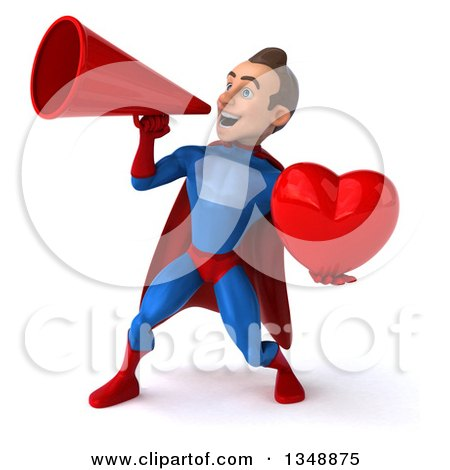 Clipart of a 3d Young Brunette White Male Super Hero in a Blue and Red Suit, Holding a Love Heart and Using a Megaphone - Royalty Free Illustration by Julos