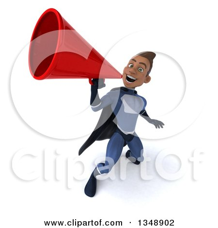 Clipart of a 3d Young Black Male Super Hero Dark Blue Suit, Using a Megaphone - Royalty Free Illustration by Julos