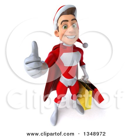 Clipart of a 3d Young White Male Super Hero Santa Holding up a Thumb and Shopping Bags - Royalty Free Illustration by Julos