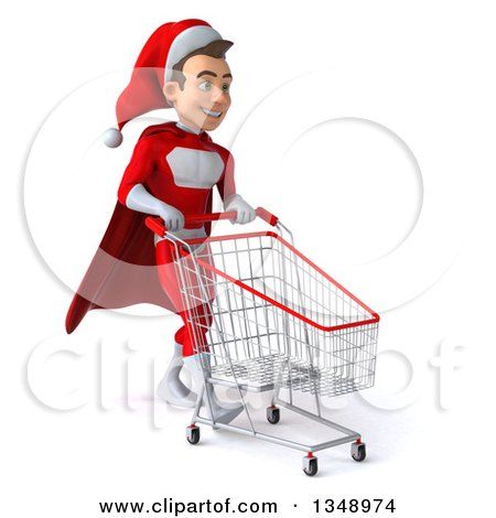 Clipart of a 3d Young White Male Super Hero Santa Walking to the Right with a Shopping Cart - Royalty Free Illustration by Julos