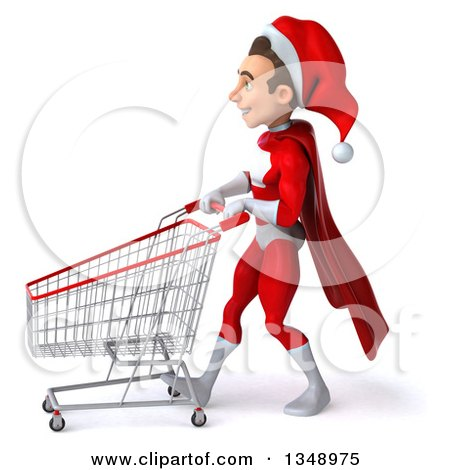 Clipart of a 3d Young White Male Super Hero Santa Walking to the Left with a Shopping Cart - Royalty Free Illustration by Julos