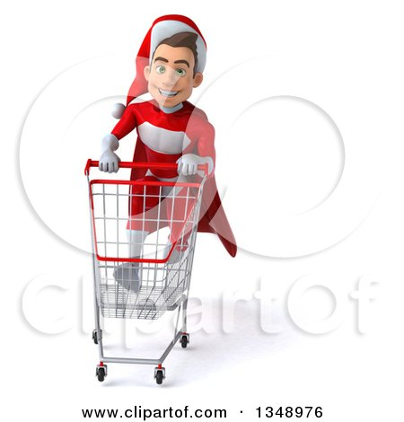 Clipart of a 3d Young White Male Super Hero Santa Sprinting with a Shopping Cart - Royalty Free Illustration by Julos