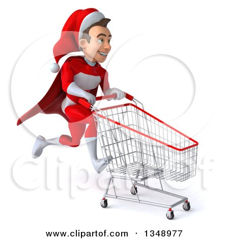 Clipart of a 3d Young White Male Super Hero Santa Sprinting to the Right with a Shopping Cart - Royalty Free Illustration by Julos