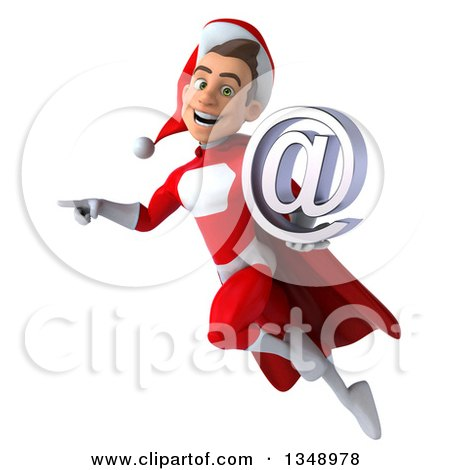 Clipart of a 3d Young White Male Super Hero Santa Holding an Email Arobase at Symbol, Flying and Pointing - Royalty Free Illustration by Julos