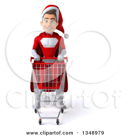 Clipart of a 3d Young White Male Super Hero Santa with a Shopping Cart - Royalty Free Illustration by Julos