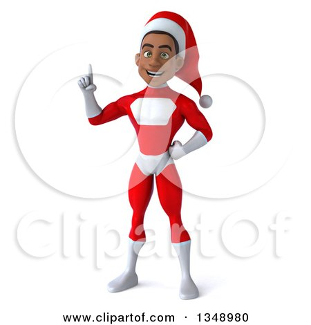 Clipart of a 3d Young Black Male Christmas Super Hero Santa Holding up a Finger - Royalty Free Illustration by Julos