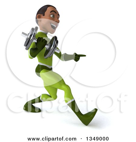 Clipart of a 3d Young Black Male Super Hero in a Green Suit, Holding a Dumbbell, Pointing and Walking to the Right - Royalty Free Illustration by Julos