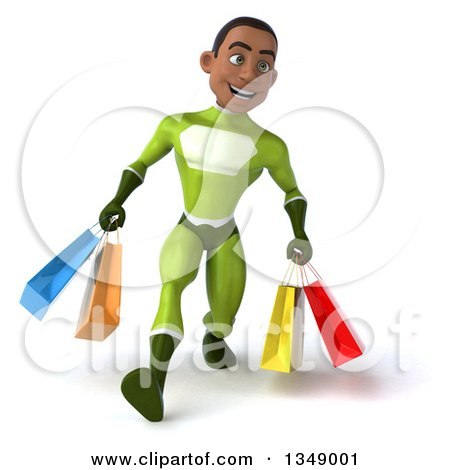 Clipart of a 3d Young Black Male Super Hero in a Green Suit, Speed Walking with Shopping Bags - Royalty Free Illustration by Julos