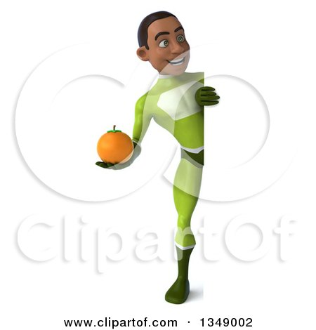 Clipart of a 3d Full Length Young Black Male Super Hero in a Green Suit, Holding a Navel Orange Around a Sign - Royalty Free Illustration by Julos
