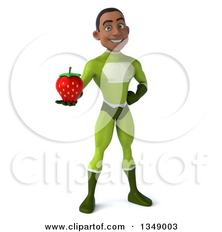 Clipart of a 3d Young Black Male Super Hero in a Green Suit, Holding a Strawberry - Royalty Free Illustration by Julos