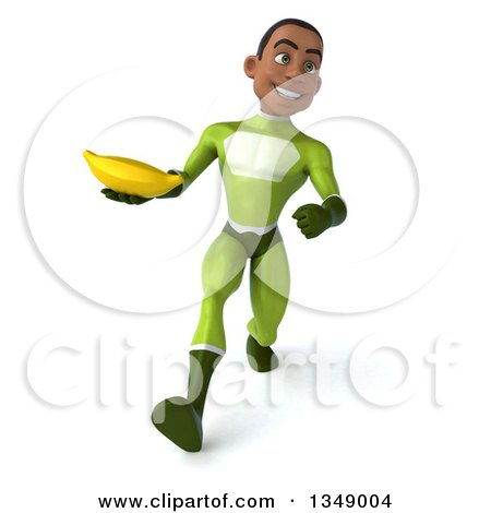 Clipart of a 3d Young Black Male Super Hero in a Green Suit, Holding a Banana and Speed Walking - Royalty Free Illustration by Julos