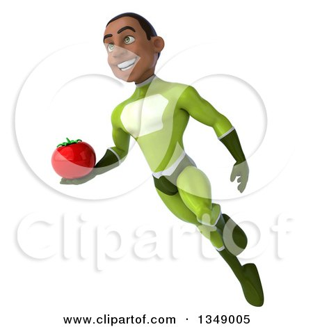 Clipart of a 3d Young Black Male Super Hero in a Green Suit, Holding a Tomato and Flying - Royalty Free Illustration by Julos