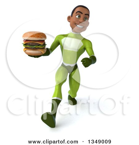 Clipart of a 3d Young Black Male Super Hero in a Green Suit, Holding a Double Cheeseburger and Speed Walking - Royalty Free Illustration by Julos