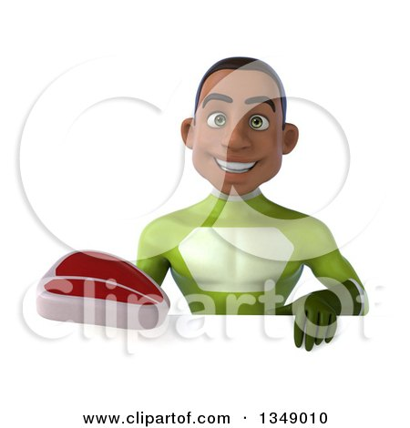 Clipart of a 3d Young Black Male Super Hero in a Green Suit, Holding a Beef Steak over a Sign - Royalty Free Illustration by Julos