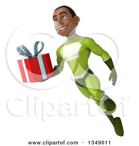 Clipart of a 3d Young Black Male Super Hero in a Green Suit, Holding a Gift and Flying - Royalty Free Illustration by Julos