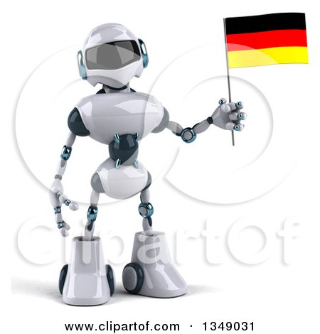 Clipart of a 3d White and Blue Robot Holding a German Flag - Royalty Free Illustration by Julos