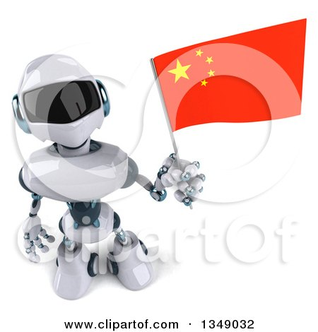 Clipart of a 3d White and Blue Robot Holding up a Chinese Flag - Royalty Free Illustration by Julos