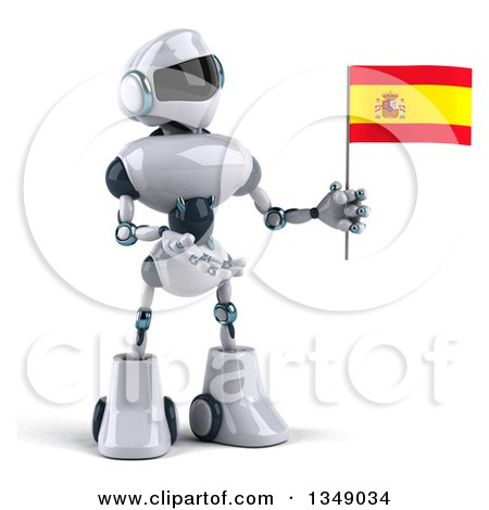 Clipart of a 3d White and Blue Robot Presenting and Holding a Spanish Flag - Royalty Free Illustration by Julos