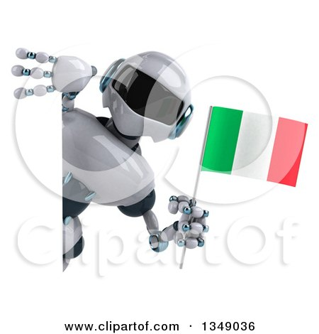 Clipart of a 3d White and Blue Robot Holding an Italian Flag Around a Sign - Royalty Free Illustration by Julos