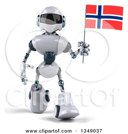 Clipart of a 3d White and Blue Robot Walking and Holding a Norway Flag - Royalty Free Illustration by Julos