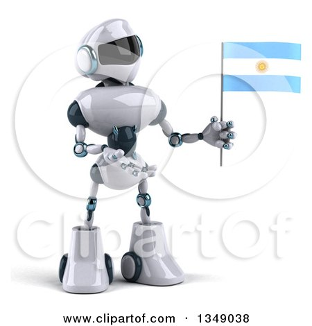 Clipart of a 3d White and Blue Robot Presenting and Holding an Argentine Flag - Royalty Free Illustration by Julos