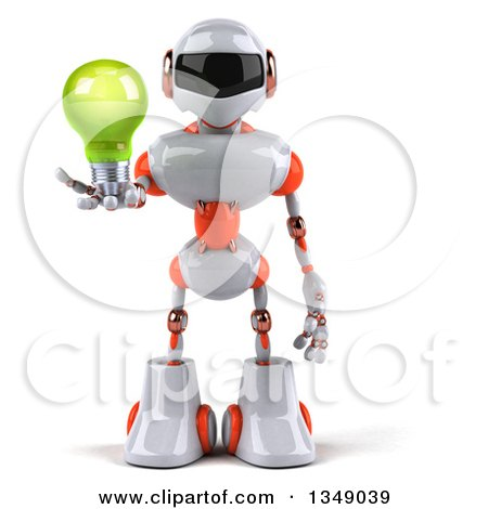 Clipart of a 3d White and Orange Robot Holding a Green Light Bulb - Royalty Free Illustration by Julos