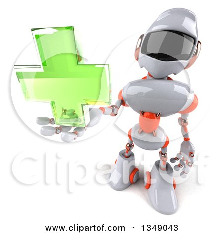 Clipart of a 3d White and Orange Robot Holding up a Green Cross - Royalty Free Illustration by Julos