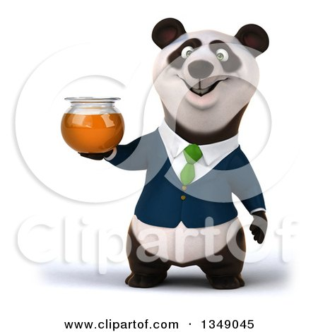 Clipart of a 3d Happy Business Panda in a Green Tie, Holding a Honey Jar - Royalty Free Illustration by Julos