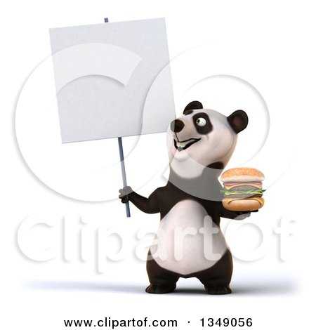 Clipart of a 3d Happy Panda Holding a Double Cheeseburger and Looking up at a Blank Sign - Royalty Free Illustration by Julos