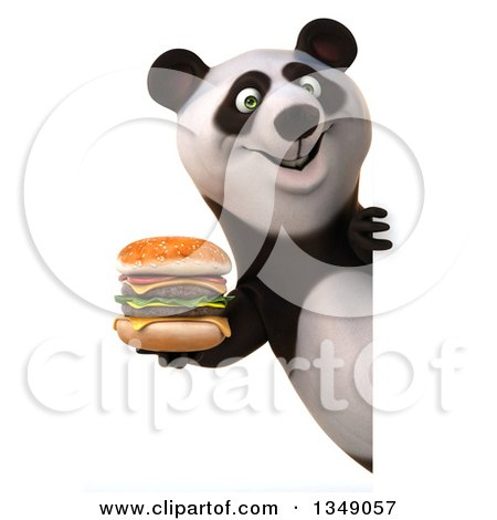 Clipart of a 3d Happy Panda Holding a Double Cheeseburger Around a Sign - Royalty Free Illustration by Julos