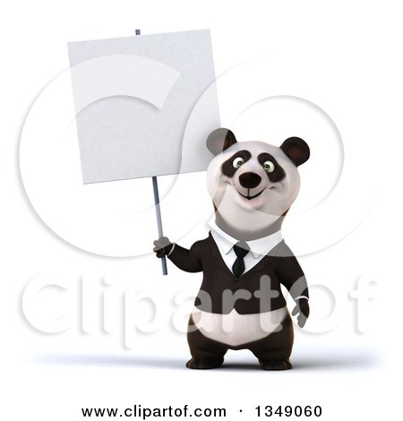 Clipart of a 3d Happy Business Panda Holding a Blank Sign - Royalty Free Illustration by Julos