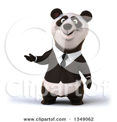 Clipart of a 3d Happy Business Panda Presenting - Royalty Free Illustration by Julos