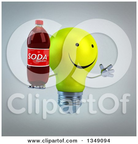 Clipart of a 3d Happy Yellow Light Bulb Character Facing Right, Jumping and Holding a Soda Bottle, over Gray - Royalty Free Illustration by Julos