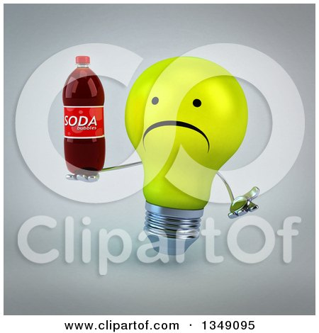 Clipart of a 3d Unhappy Yellow Light Bulb Character Shrugging and Holding a Soda Bottle, over Gray - Royalty Free Illustration by Julos