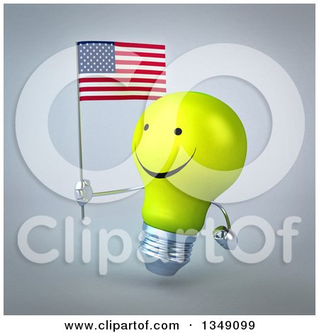 Clipart of a 3d Happy Yellow Light Bulb Character Facing Left and Holding an American Flag, over Gray - Royalty Free Illustration by Julos