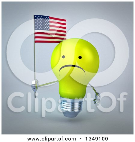 Clipart of a 3d Unhappy Yellow Light Bulb Character Holding an American Flag, over Gray - Royalty Free Illustration by Julos