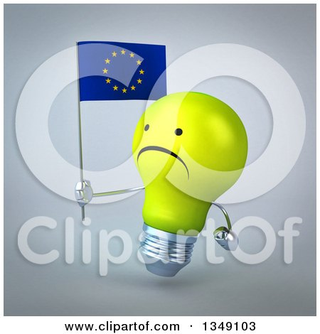 Clipart of a 3d Unhappy Yellow Light Bulb Character Facing Left and Holding a European Flag, over Gray - Royalty Free Illustration by Julos