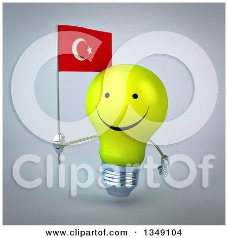 Clipart of a 3d Happy Yellow Light Bulb Character Holding a Turkish Flag, over Gray - Royalty Free Illustration by Julos