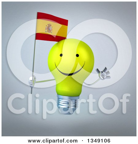 Clipart of a 3d Happy Yellow Light Bulb Character Holding a Spanish Flag and Jumping, over Gray - Royalty Free Illustration by Julos